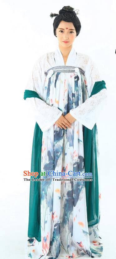 Traditional Chinese Hanfu Costumes Ancient Tang Dynasty Imperial Consort Blouse and Printing Lotus Slip Skirts Complete Set
