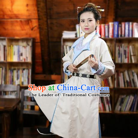 Traditional Chinese Hanfu Costumes Ancient Ming Dynasty Imperial Guards White Robe for Women