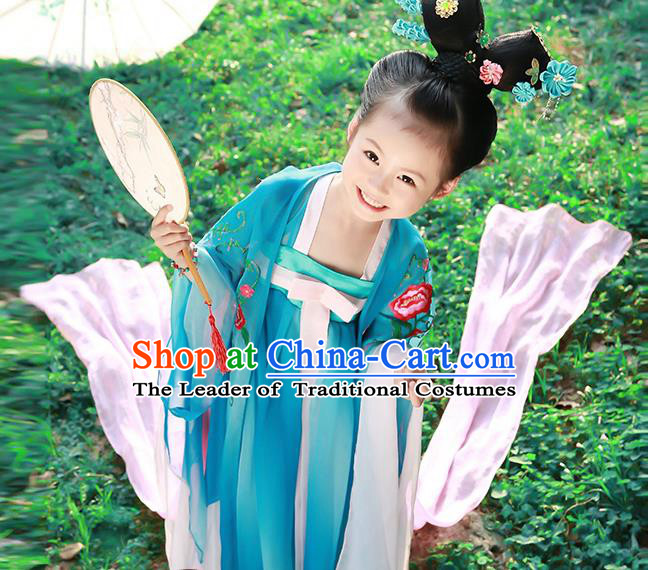 Traditional Chinese Tang Dynasty Imperial Princess Tailing Embroidered Clothing for Kids