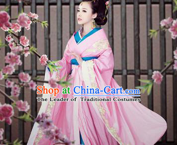 Traditional Ancient Chinese Imperial Consort Costume, Elegant Hanfu Chinese Tang Dynasty Embroidered Pink Dress Clothing for Women