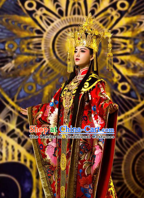 Traditional Ancient Chinese Imperial Concubine Costume and Headpiece Complete Set, Elegant Hanfu Chinese Tang Dynasty Empress Embroidered Clothing for Women
