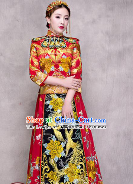 Traditional Ancient Chinese Costume Xiuhe Suits Chinese Style Wedding Embroidery Dragon and Phoenix Bride Cheongsam Clothing for Women