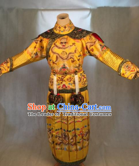 Traditional Ancient Chinese Imperial Emperor Costume, Chinese Qing Dynasty Manchu King Embroidered Dragon Robe Clothing for Men