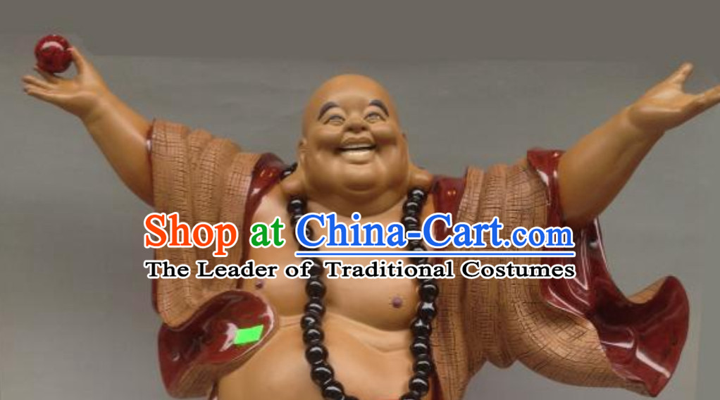 Chinese Shiwan Porcelain Figurine -Wise and Happy Monk Who Hugs All