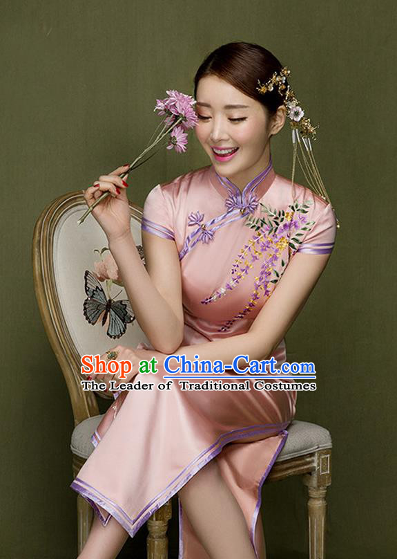 Traditional Ancient Chinese Republic of China Qipao Costume, Chinese Manchu Young Lady Embroidered Pink Cheongsam for Women