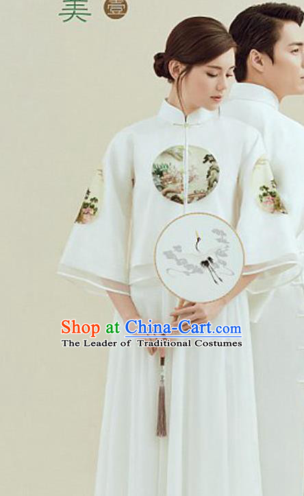 Traditional Ancient Chinese Republic of China Qipao Costume Blouse and Skirt, Chinese Manchu Young Lady Embroidered Cheongsam for Women