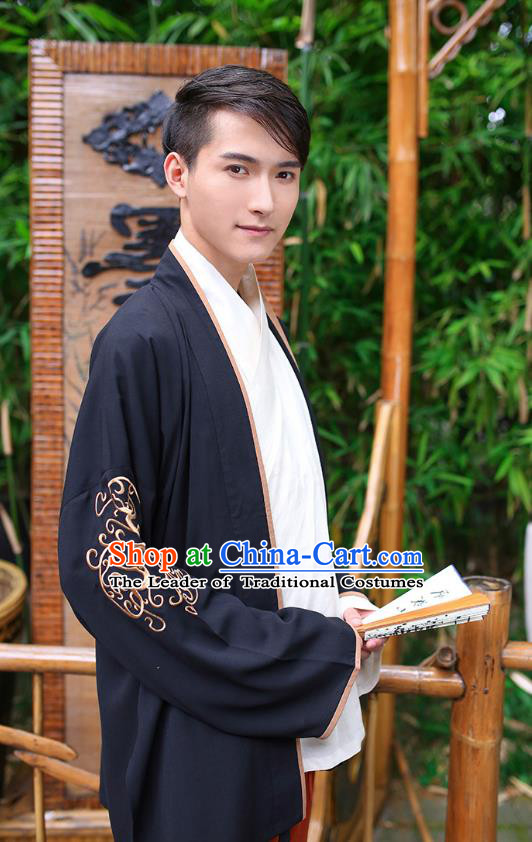 Traditional Chinese Hanfu Costumes Ancient Han Dynasty Young Men Embroidery Black Shirts