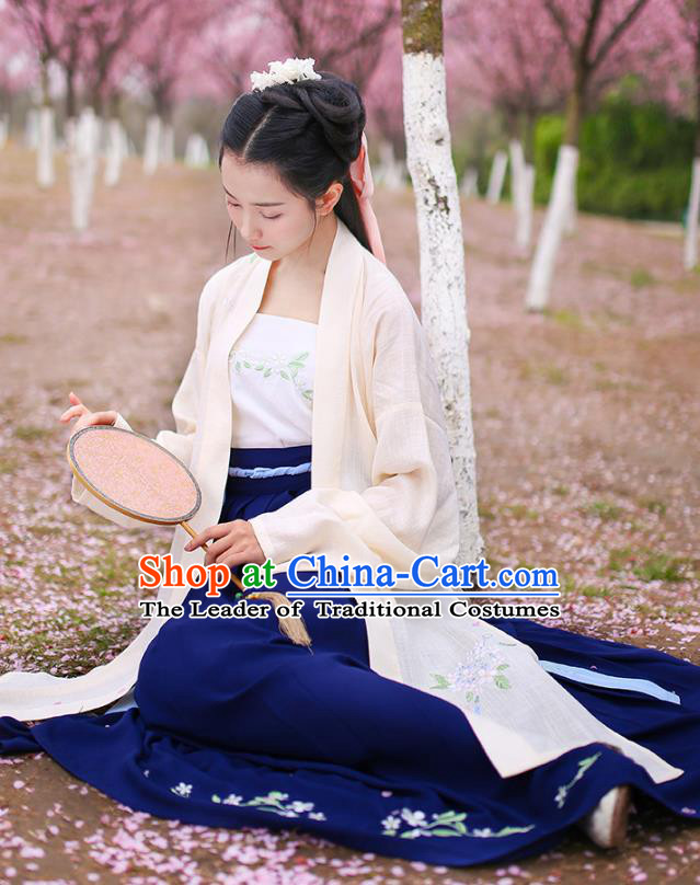 Traditional Chinese Hanfu Costumes Ancient Song Dynasty Princess Embroidery Yellow BeiZi Blouse and Skirts Complete Set