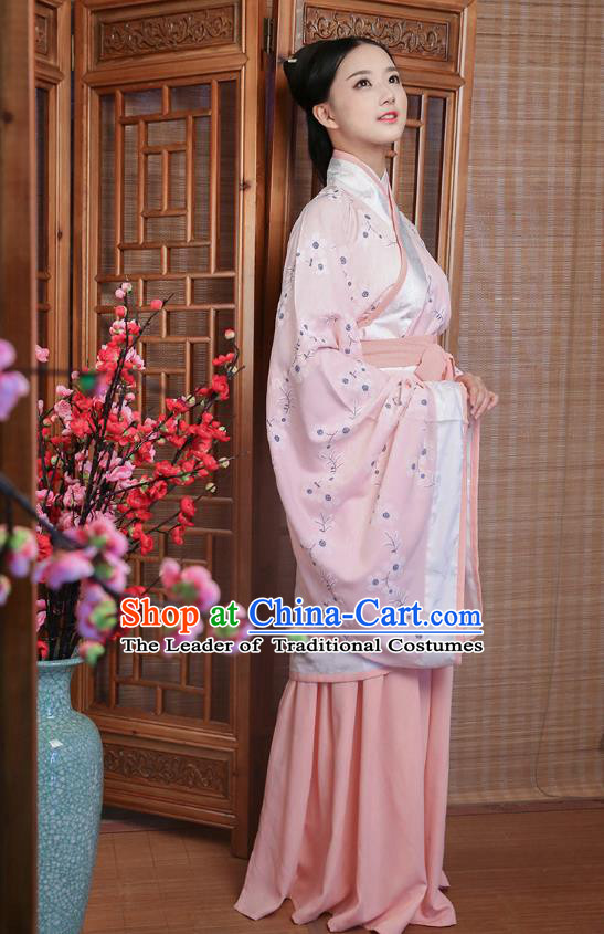 Traditional Ancient China Costume Palace Lady Pink Curve Bottom, Chinese Hanfu Han Dynasty Princess Embroidered Clothing for Women