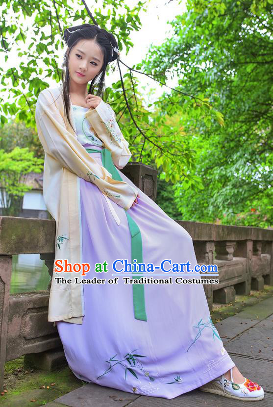 Traditional Ancient China Costume Young Lady Embroidery Yellow BeiZi and Skirt Complete Set, Chinese Hanfu Song Dynasty Princess Embroidered Clothing for Women