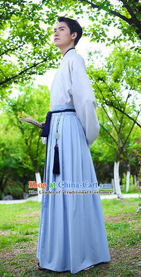 Traditional Chinese Hanfu Costumes Ancient Han Dynasty Young Men Embroidery Shirts and Blue Skirts Complete Set