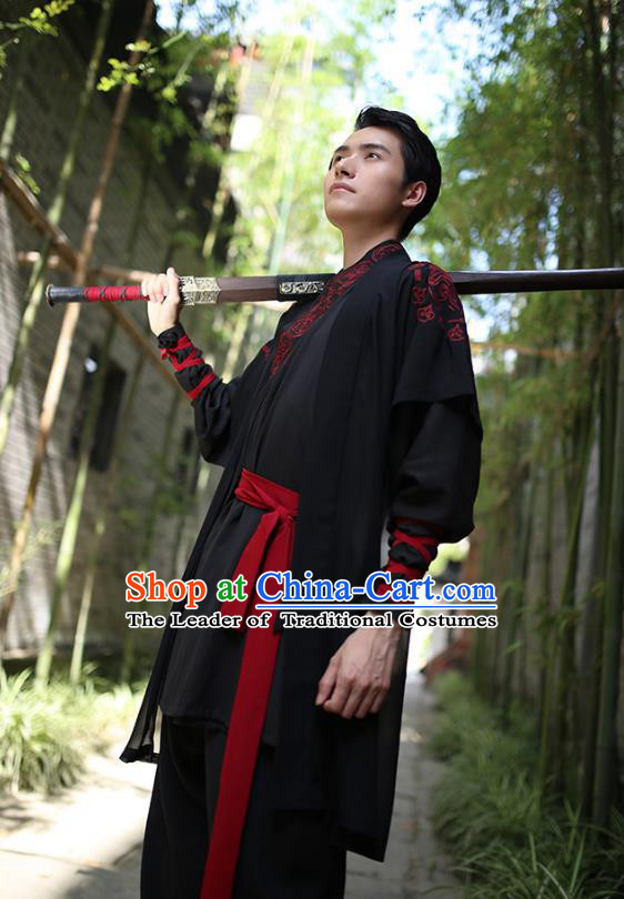 Traditional Chinese Hanfu Costumes Ancient Han Dynasty Swordsman Embroidery Black Clothing Complete Set
