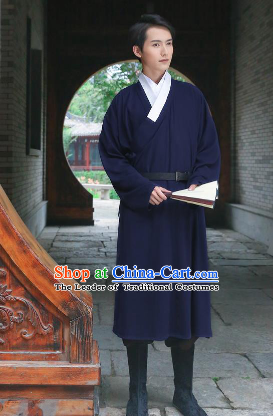 Traditional Chinese Ancient Costumes Asian China Ming Dynasty Swordsmen Embroidery Clothing Navy Long Robe for Men