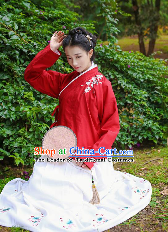 Traditional Chinese Ancient Costumes, Asian China Ming Dynasty Palace Lady Clothing Embroidery Red Blouse and Skirt Complete Set