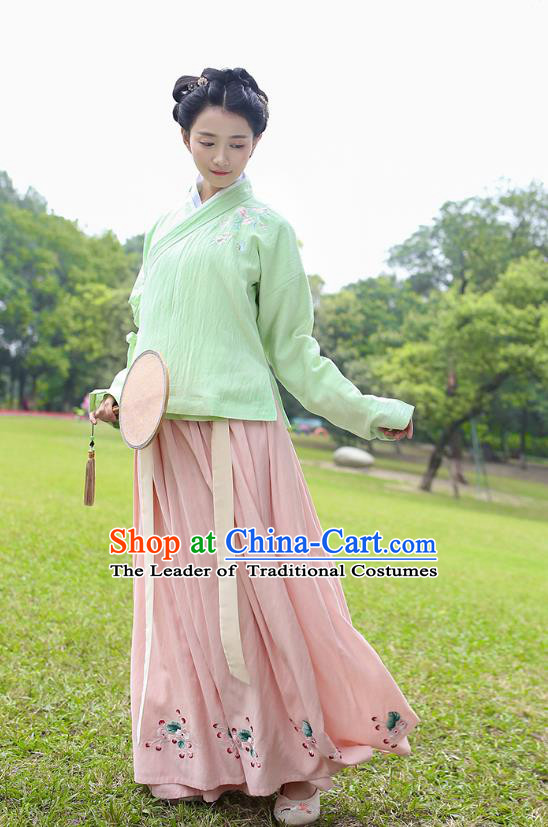Traditional Chinese Ancient Costumes, Asian China Ming Dynasty Palace Lady Clothing Embroidery Green Blouse and Pink Skirt Complete Set