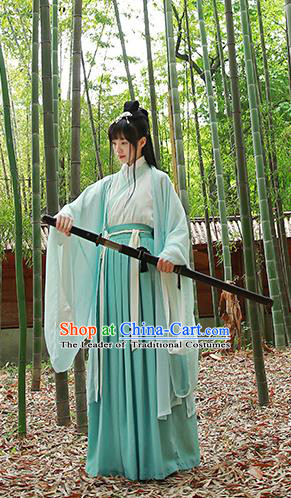 Traditional Chinese Ancient Hanfu Costumes, Asian China Jin Dynasty Embroidery Cardigan Blouse and Skirts for Women