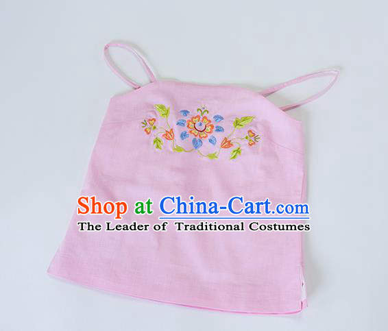 Traditional Chinese Ancient Hanfu Costumes, Asian China Song Dynasty Embroidery Sun-top Vest Pink Bellyband for Women