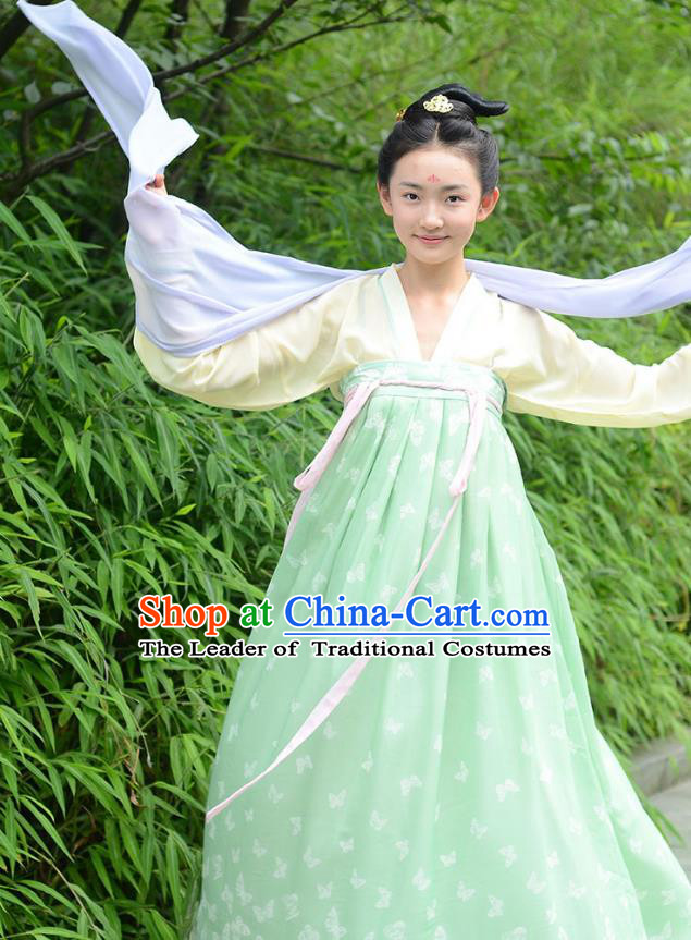 Ancient Chinese Palace Princess Costume, Traditional China Tang Dynasty Young Lady Clothing Yellow Blouse and Green Skirt Complete Set