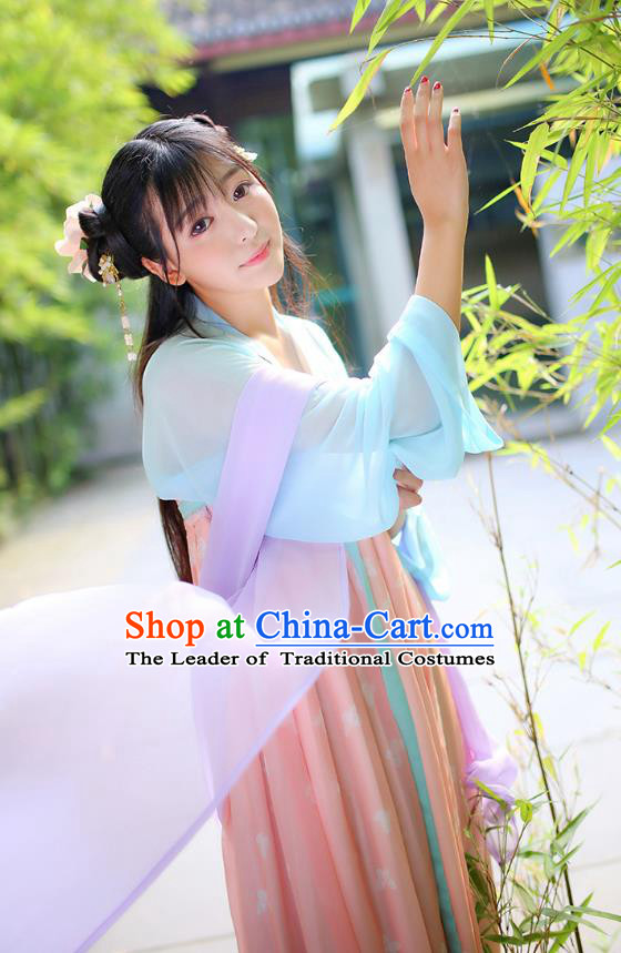 Ancient Chinese Palace Princess Costume, Traditional China Tang Dynasty Young Lady Clothing Blue Blouse and Pink Skirt Complete Set