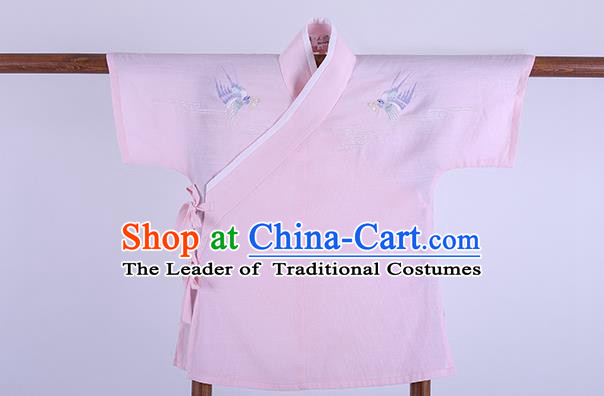 Ancient Chinese Palace Princess Hanfu Costume, Traditional China Song Dynasty Young Lady Clothing Embroidery Pink Blouse