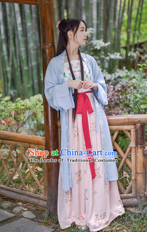 Ancient Chinese Palace Princess Hanfu Costume, Traditional China Ming Dynasty Palace Lady Embroidery Blue Cardigan Blouse and Skirt Complete Set