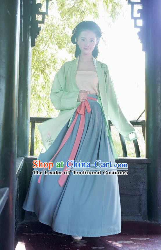 Ancient Chinese Palace Princess Hanfu Costume, Traditional China Song Dynasty Palace Lady Embroidery Green Cardigan Clothing