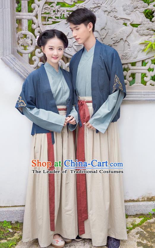 Traditional Chinese Ancient Hanfu Costumes, Asian China Song Dynasty Clothing Embroidery Blue Half-arm Shawl Blouse and Skirt Complete Set for Women for Men