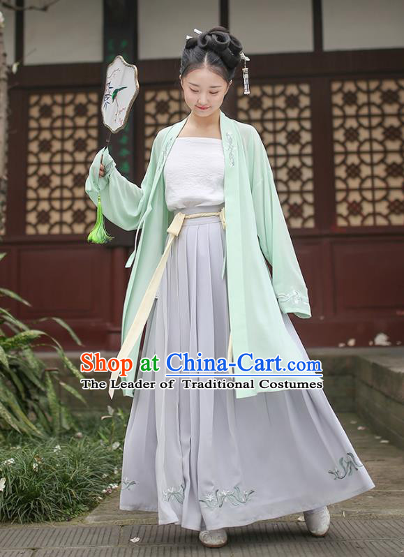 Ancient Chinese Royal Princess Hanfu Costume, Traditional China Song Dynasty Palace Lady Embroidery Green BeiZi and Dress for Women