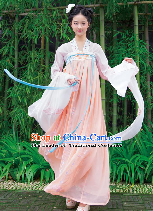 Ancient Chinese Imperial Concubine Hanfu Costume, Traditional China Tang Dynasty Palace Lady Embroidery White Blouse and Pink Slip Skirt for Women
