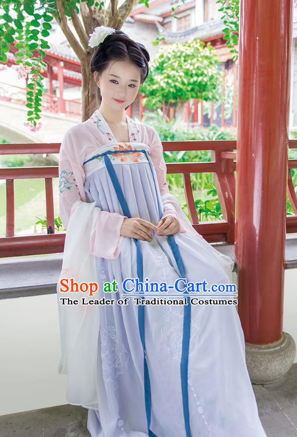 Ancient Chinese Imperial Concubine Hanfu Costume, Traditional China Tang Dynasty Palace Lady Embroidery Blouse and Purple Slip Skirt for Women