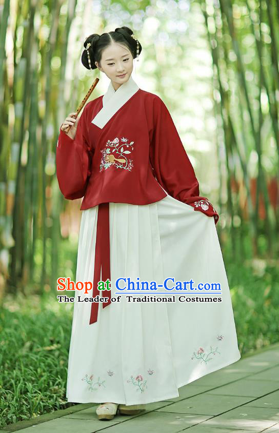 Traditional Chinese Ancient Young Lady Hanfu Costumes, Asian China Ming Dynasty Palace Princess Embroidery Red Blouse and Skirt for Women