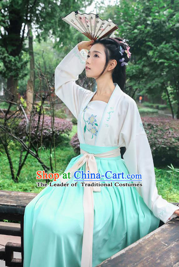 Traditional Chinese Ancient Young Lady Hanfu Costumes, Asian China Song Dynasty Palace Princess Embroidery White Blouse and Skirt for Women