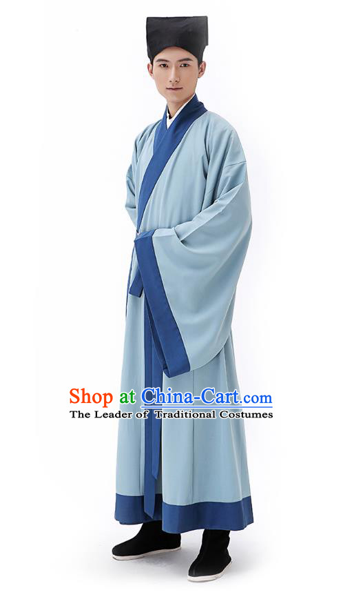 Traditional Chinese Ancient Hanfu Costumes, Asian China Han Dynasty Scholar Blue Long Robe for Men