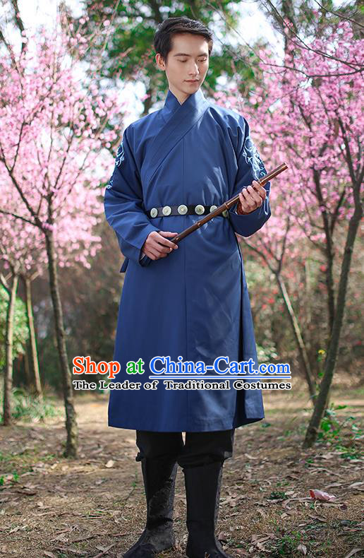 Traditional Chinese Ancient Hanfu Swordsman Costumes, Asian China Ming Dynasty Imperial Guards Embroidery Blue Long Robe for Men