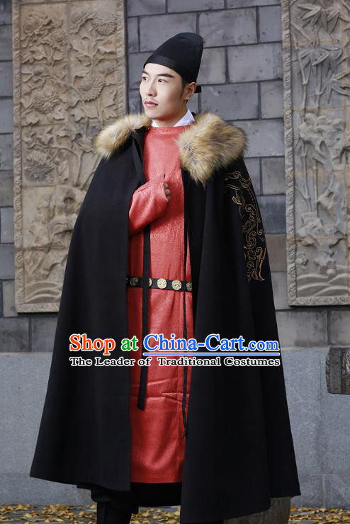 Traditional Chinese Ancient Hanfu Swordsman Cape Costume, Asian China Han Dynasty Embroidery Cloak Black Mantle Clothing for Men
