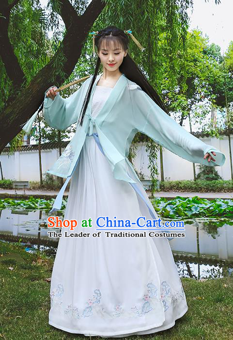 Traditional Chinese Ancient Hanfu Princess Costume, Asian China Song Dynasty Young Lady Embroidery BeiZi Green Cardigan for Women