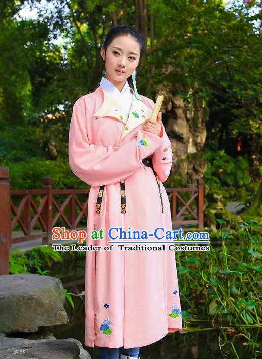 Traditional Chinese Ancient Hanfu Swordswoman Costume, Asian China Ming Dynasty Young Lady Embroidered Pink Long Robe for Women