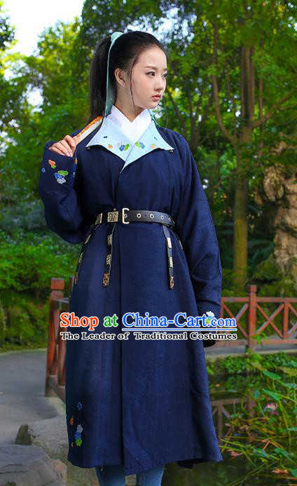 Traditional Chinese Ancient Hanfu Swordswoman Costume, Asian China Ming Dynasty Young Lady Embroidered Navy Long Robe for Women