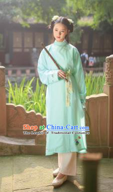 Traditional Chinese Ancient Hanfu Swordswoman Costume, Asian China Ming Dynasty Young Lady Embroidered Green Long Robe for Women