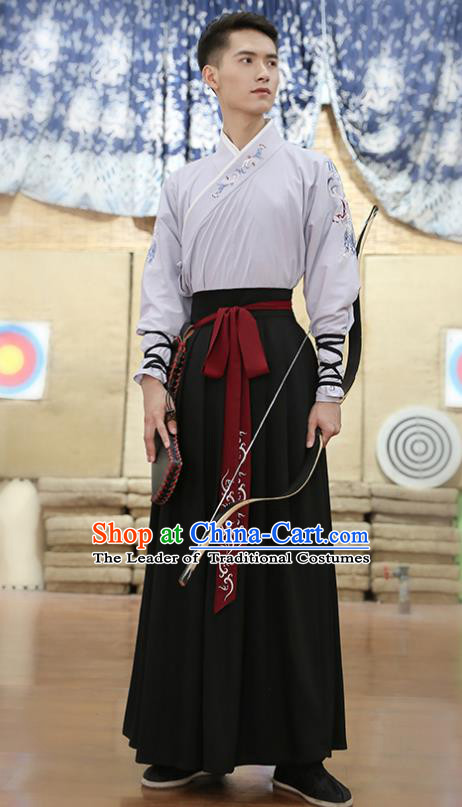 Traditional Chinese Ancient Hanfu Swordsman Costume, Asian China Ming Dynasty Imperial Bodyguard Embroidered Grey Blouse and Skirt for Men