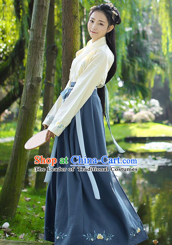 Traditional Chinese Ancient Princess Hanfu Costumes, Asian China Song Dynasty Palace Lady Embroidery Yellow Blouse and Navy Skirts for Women