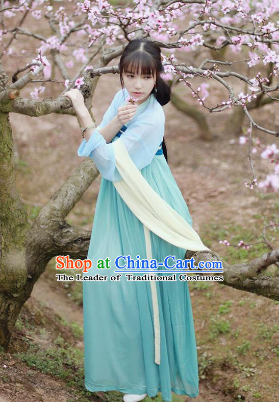 Traditional Chinese Ancient Young Lady Hanfu Costumes, Asian China Tang Dynasty Palace Princess Slip Skirt Complete Set for Women
