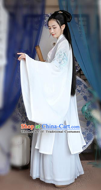 Traditional Chinese Ancient Hanfu Young Lady Costumes, Asian China Jin Dynasty Princess Embroidery White Cardigan Cloak Clothing for Women