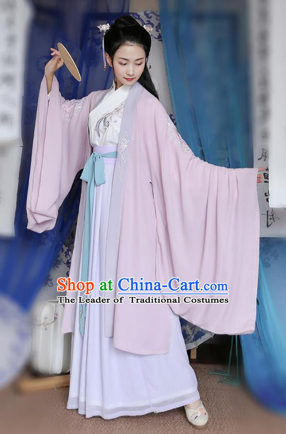 Traditional Chinese Ancient Hanfu Young Lady Costumes, Asian China Jin Dynasty Princess Embroidery Pink Cardigan Cloak Clothing for Women