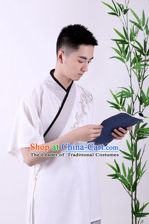 Traditional Chinese Ancient Hanfu Costumes, Asian China Han Dynasty Embroidered Blouse for Men