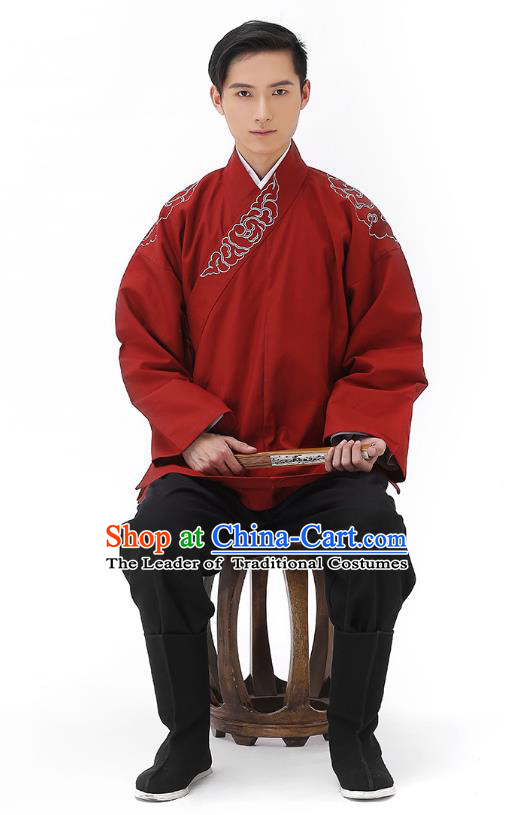 Traditional Chinese Ancient Hanfu Costumes, Asian China Han Dynasty Embroidered Red Shirt Upper Outer Garment for Men