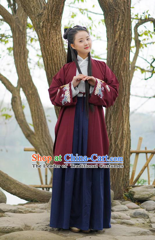 Traditional Chinese Ancient Young Lady Hanfu Costume, Asian China Song Dynasty Princess Embroidered Long BeiZi Red Cardigan for Women