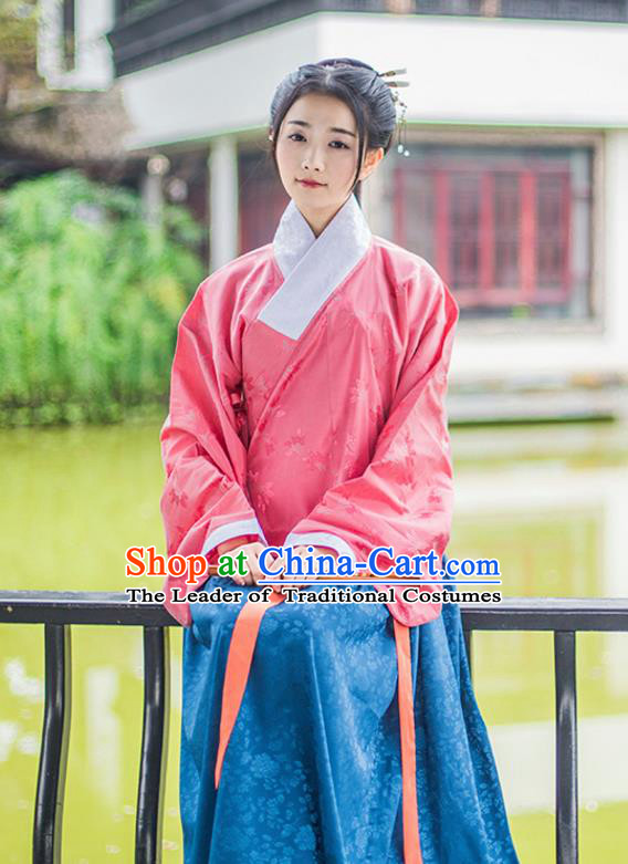 Traditional Chinese Ancient Young Lady Hanfu Costume, Asian China Ming Dynasty Princess Slant Opening Embroidered Pink Blouse for Women