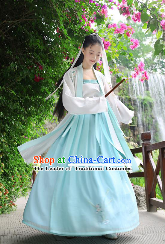 Traditional Chinese Ancient Royal Princess Hanfu Costume, Asian China Song Dynasty Princess Embroidered Cardigan and Skirts for Women