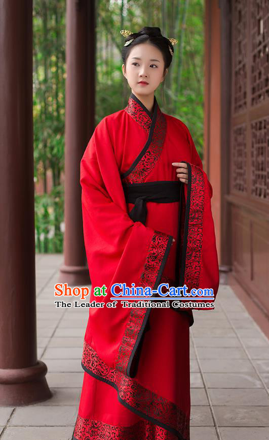 Traditional Chinese Ancient Royal Princess Hanfu Wedding Costume, Asian China Han Dynasty Palace Lady Embroidered Red Curve Bottom Dress